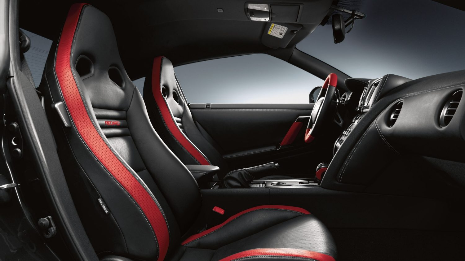 Black red leather