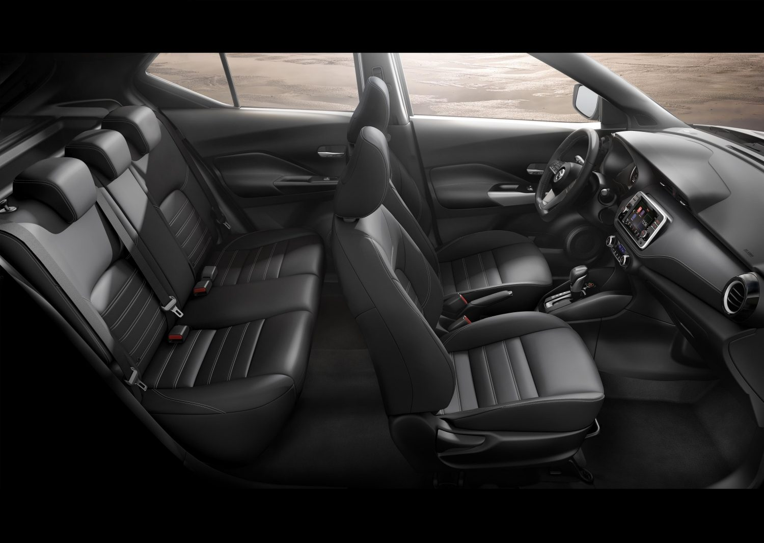 Black leather Nissan Kicks interior profile