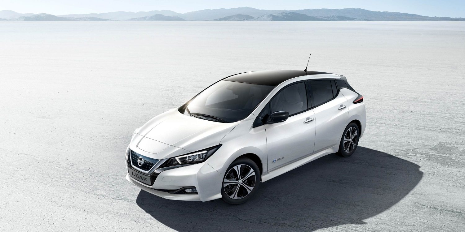 Nissan LEAF shown from above in the desert