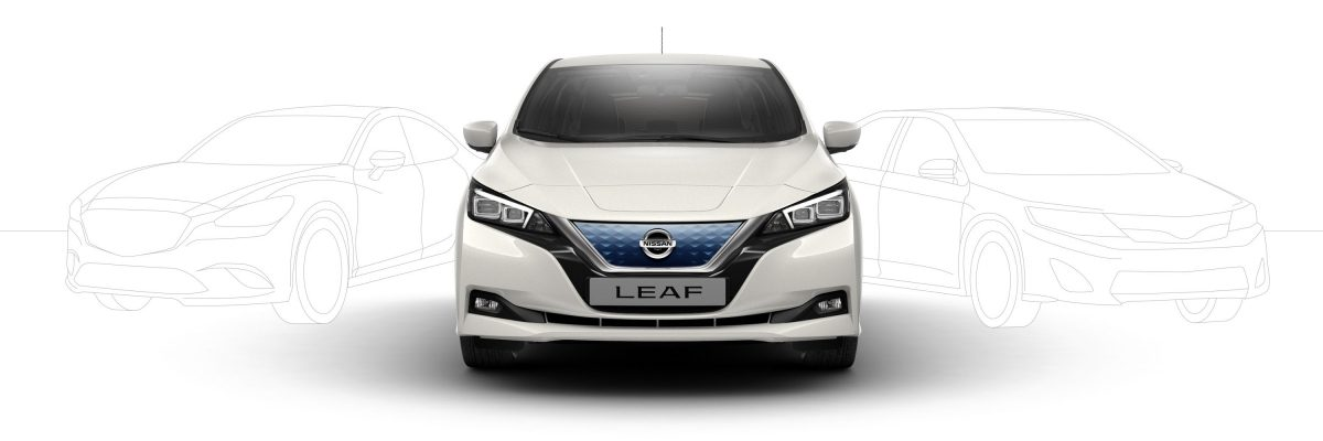 Nissan LEAF shown from the front with drawings of competitors on either side
