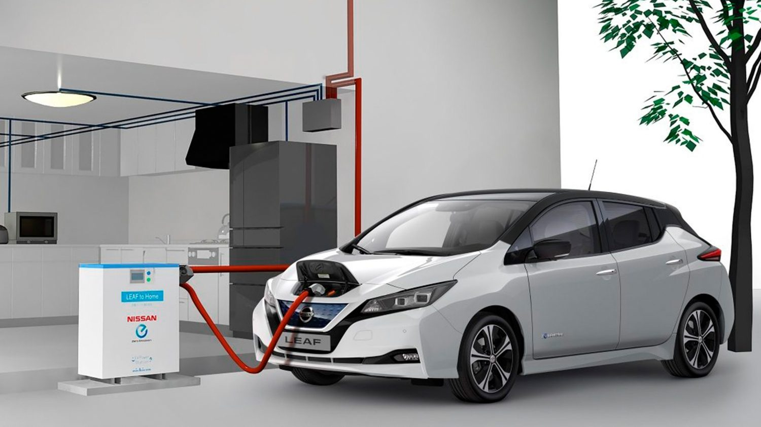 Nissan LEAF plugged into a vehicle to home system
