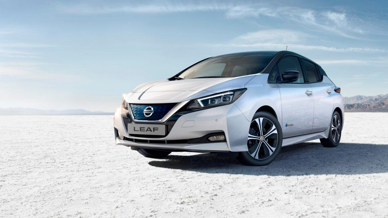 Nissan LEAF parked in the desert