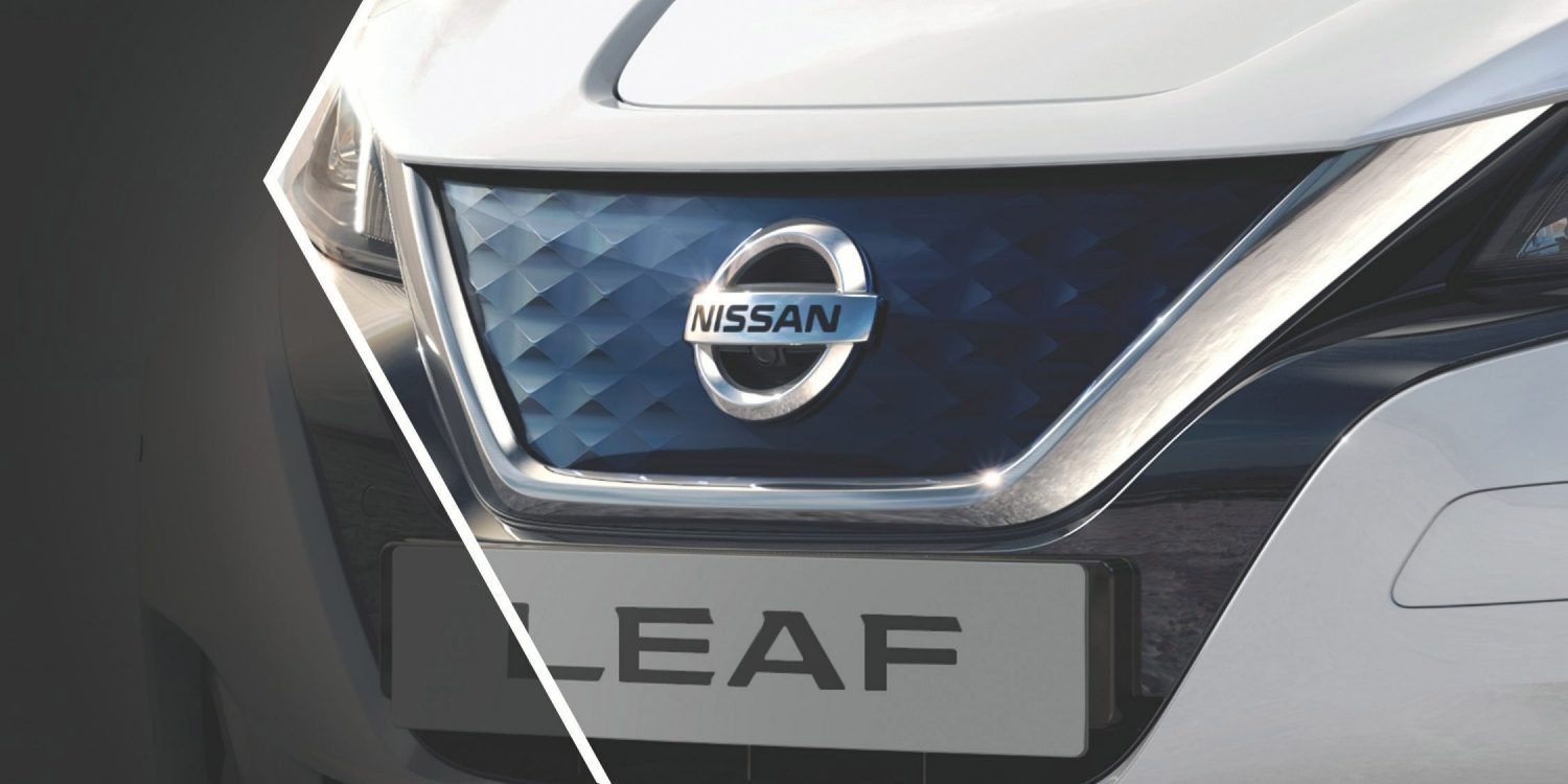 Nissan LEAF showing redesigned V-Motion grille