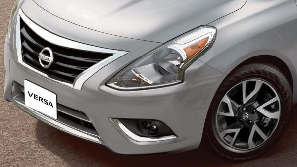 Nissan Versa chrome accents on bumper and grille