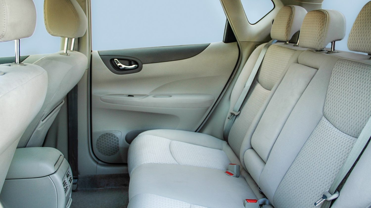 Interior Profile of Rear Seats with Sky Background