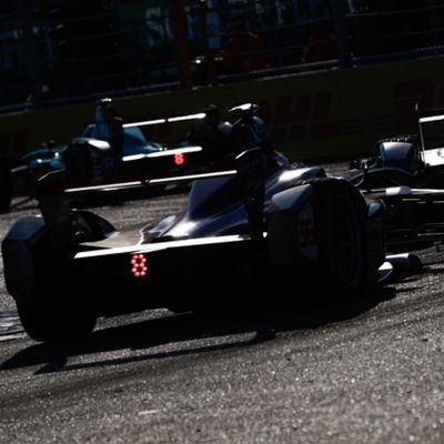 Formula E racers enter turn