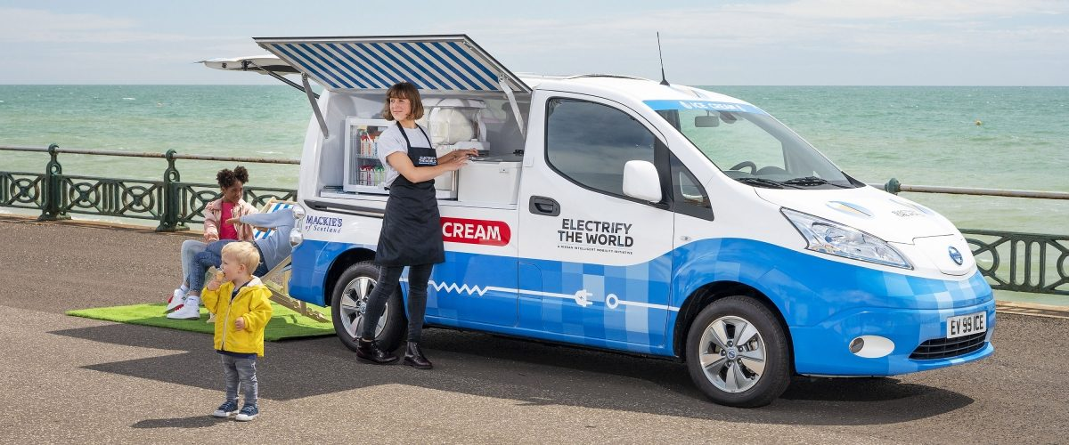video of Nissan zero emissions electric ice cream truck