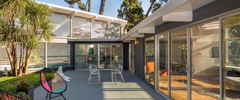 Mid-century home with patio