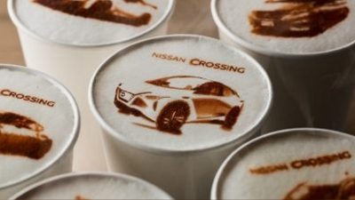 Nissan Crossing coffee drinks with macchi-art