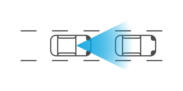 Illustration showing intelligent emergency braking with pedestrian detection