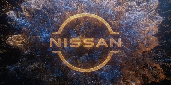 Particles coming together and exploding into Nissan logo