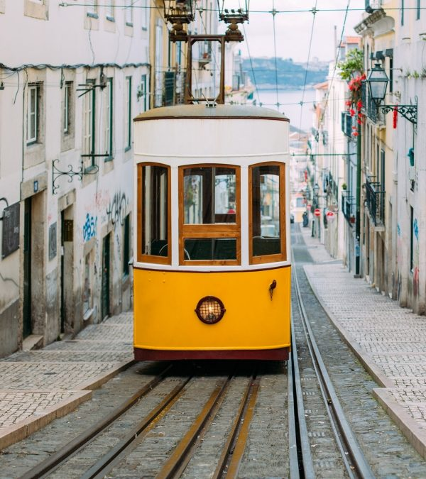Shot of the tram in Lisbon Portugal