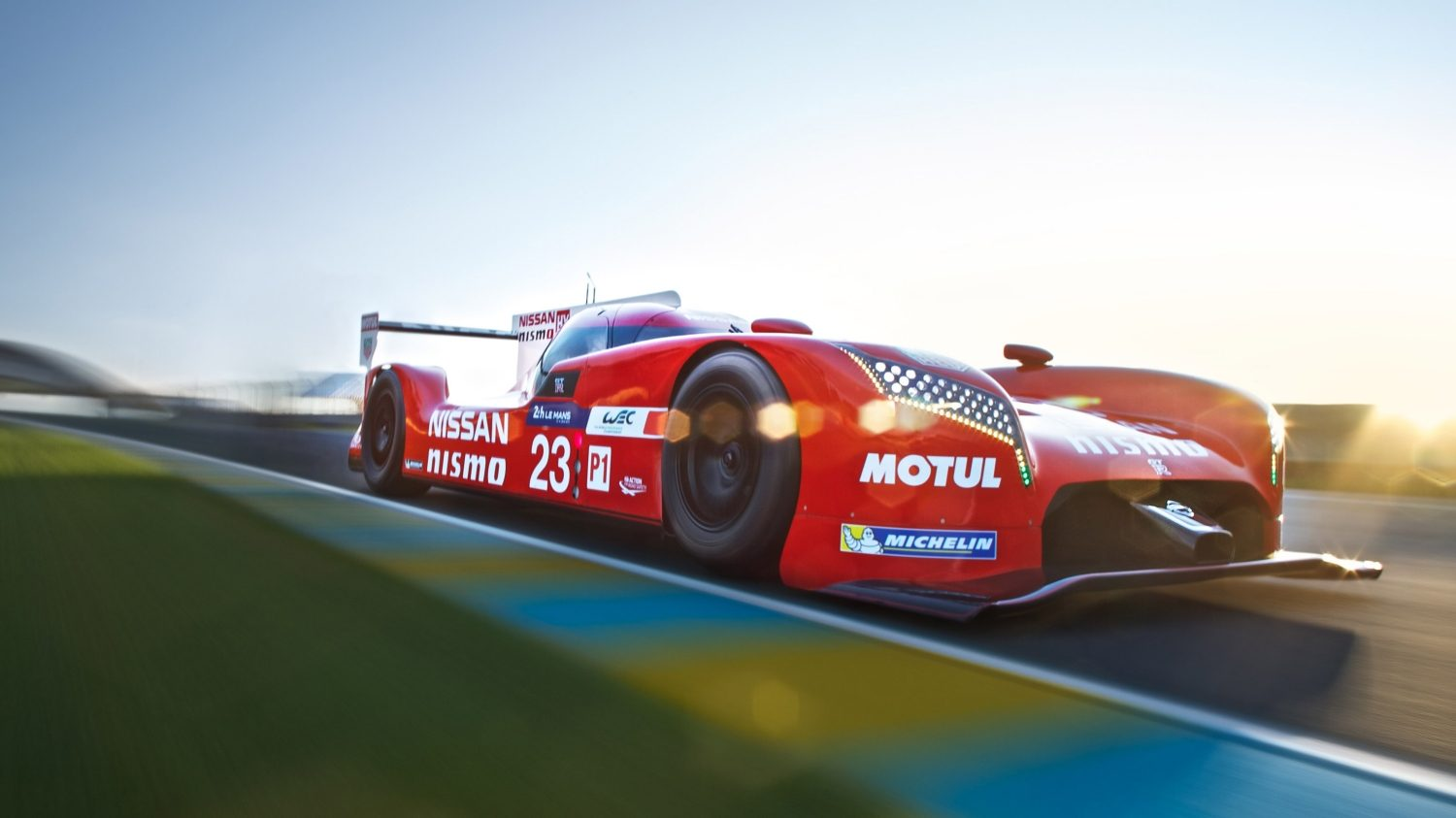 GT-R LM NISMO. Gallery low 3/4 front on the track.
