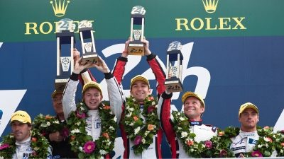 Nissan Race drivers on the Podium at 24 Hours of LeMans