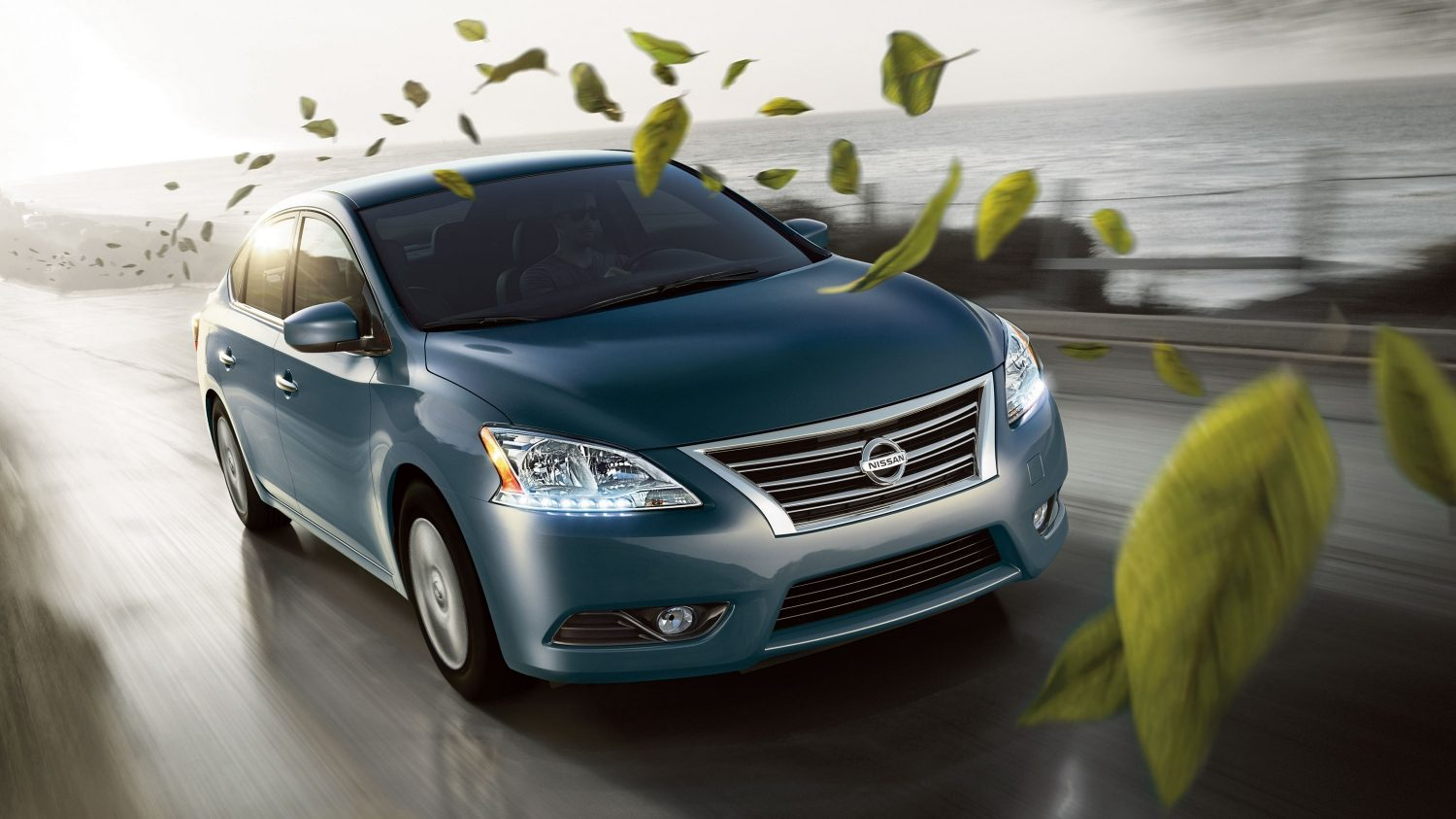 Sentra front driving with leaves.