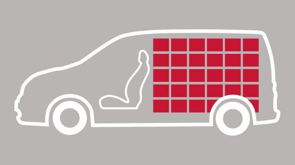 Nissan e-NV200 - Illustratie van laadruimte