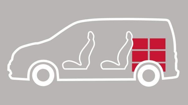 Nissan e-NV200 - Uitsnede met zitplaatsen en laadruimte