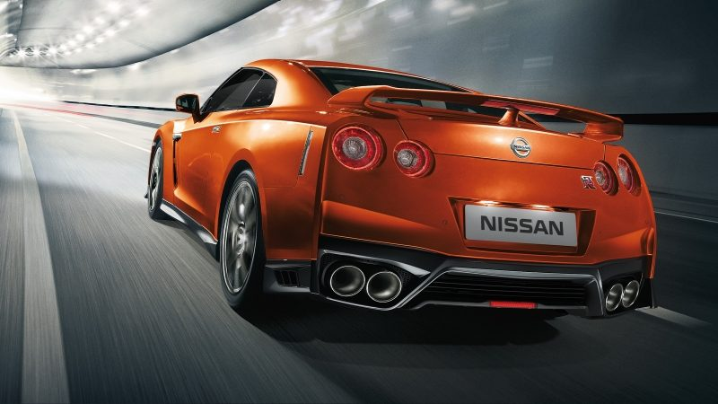 Nissan GT-R rearview on curved road