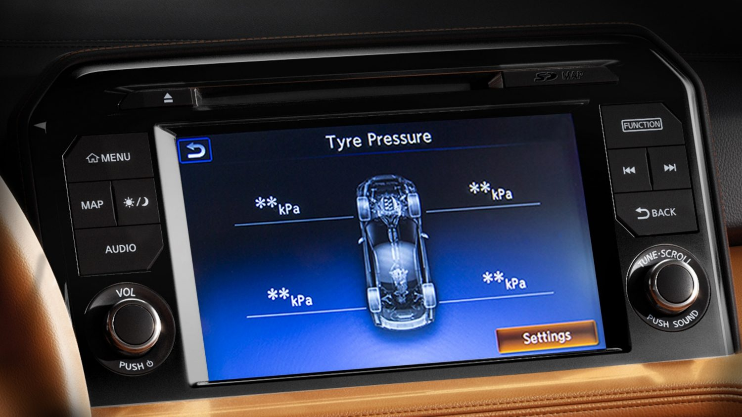 Nissan GT-R Tyre Pressure Monitoring System screen display