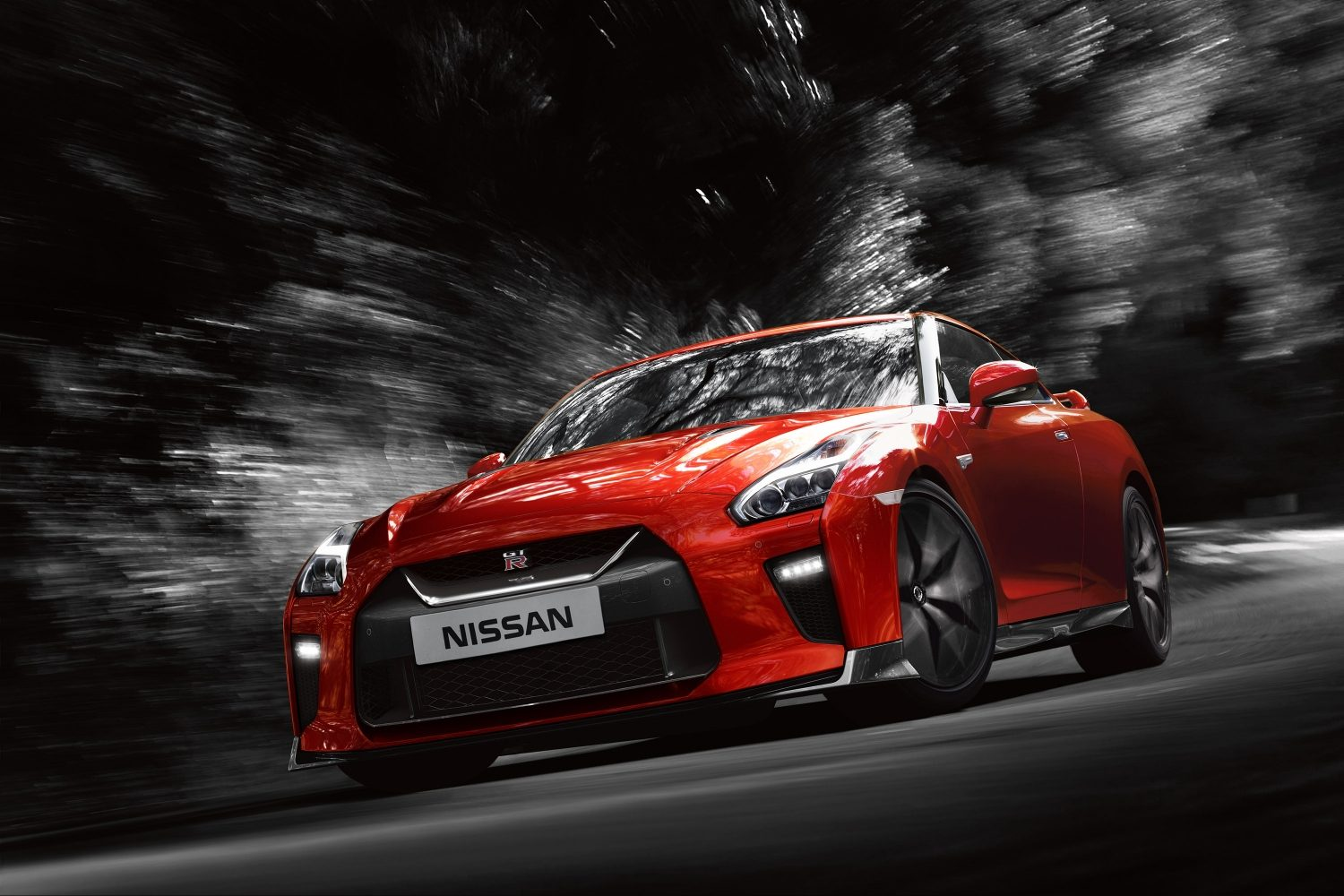 GT-R driving on road