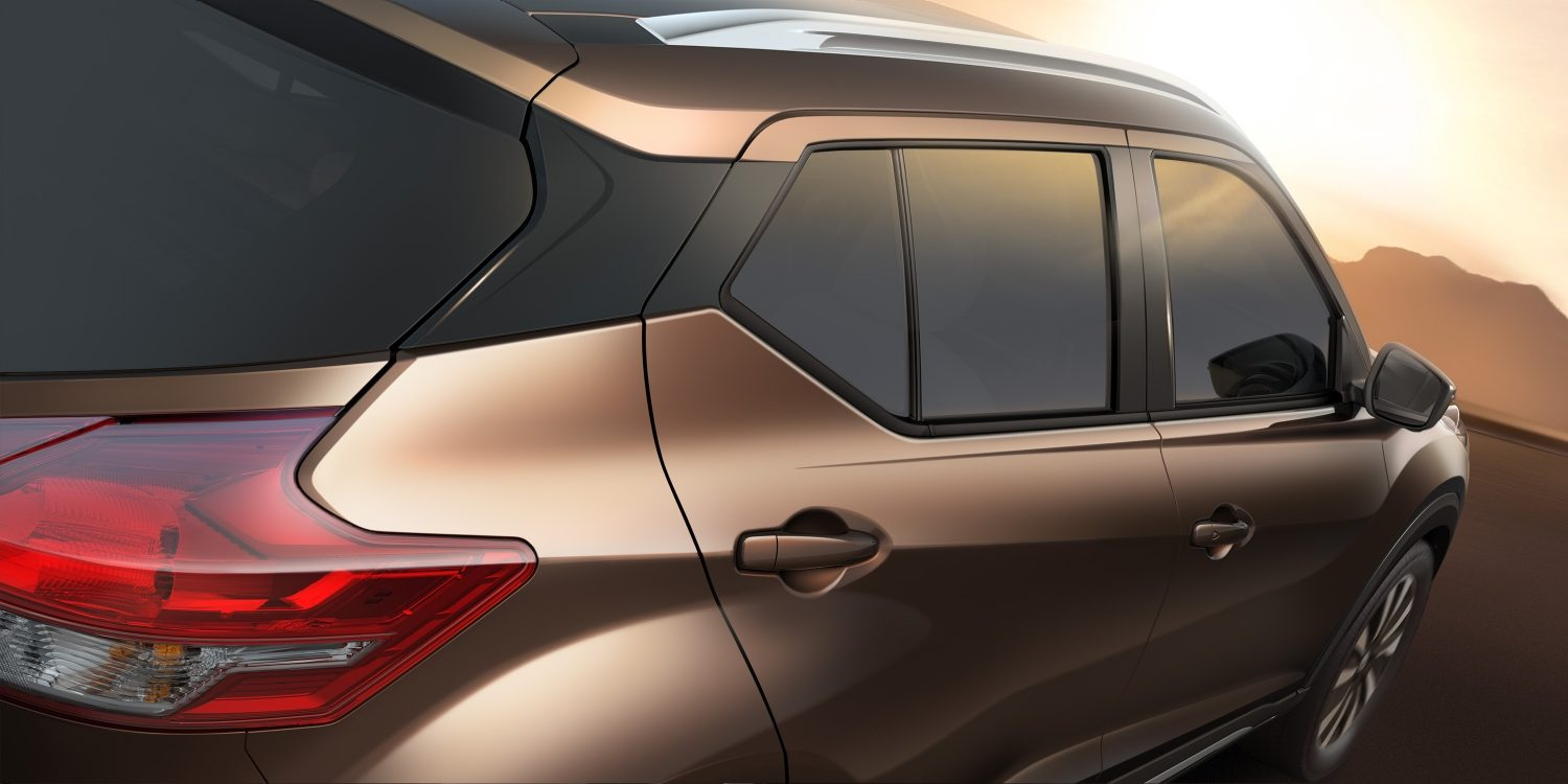 Brown Nissan kicks exterior floating roof detail