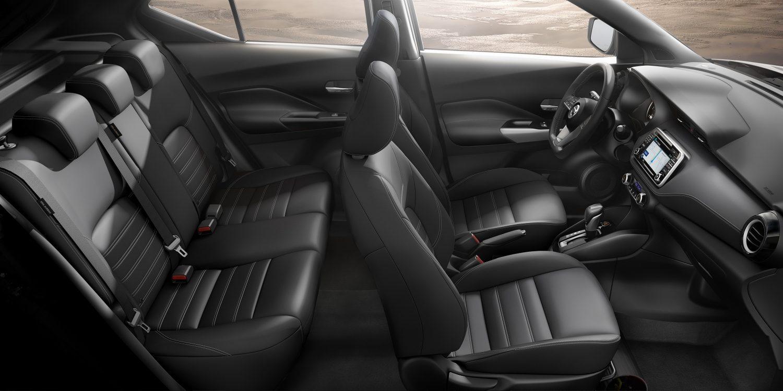 Black leather Nissan Kicks interior profile