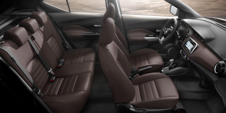 Brown leather Nissan Kicks interior profile