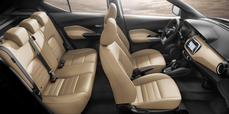 Beige leather Nissan Kicks interior profile