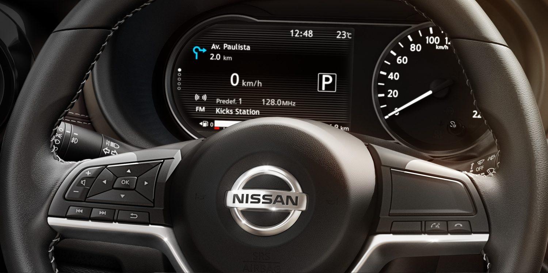Nissan Kicks steering wheel controls and gauge cluster
