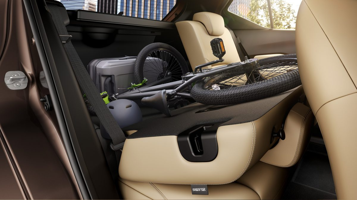 Nissan Kicks rear passenger area with seat folded down