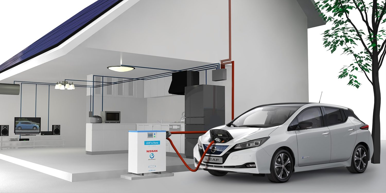 Nya Nissan LEAF inkopplad i ett Vehicle to Home-system