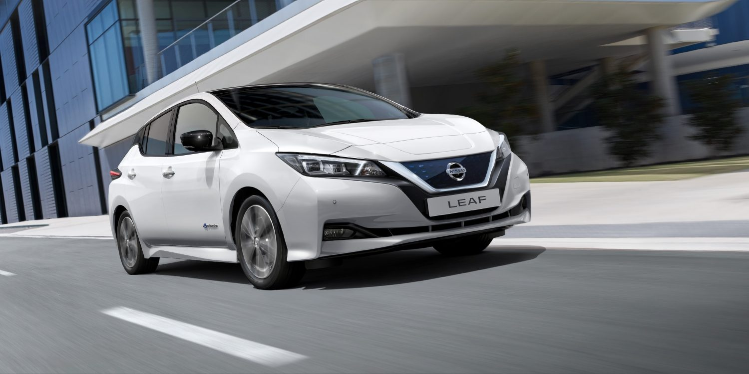 Nissan LEAF driving on a city street