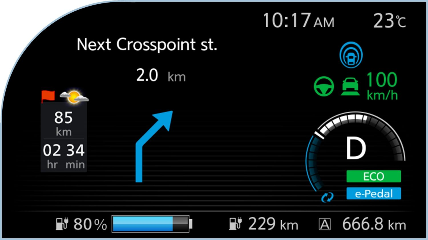 Nissan LEAF digital information display showing navigation