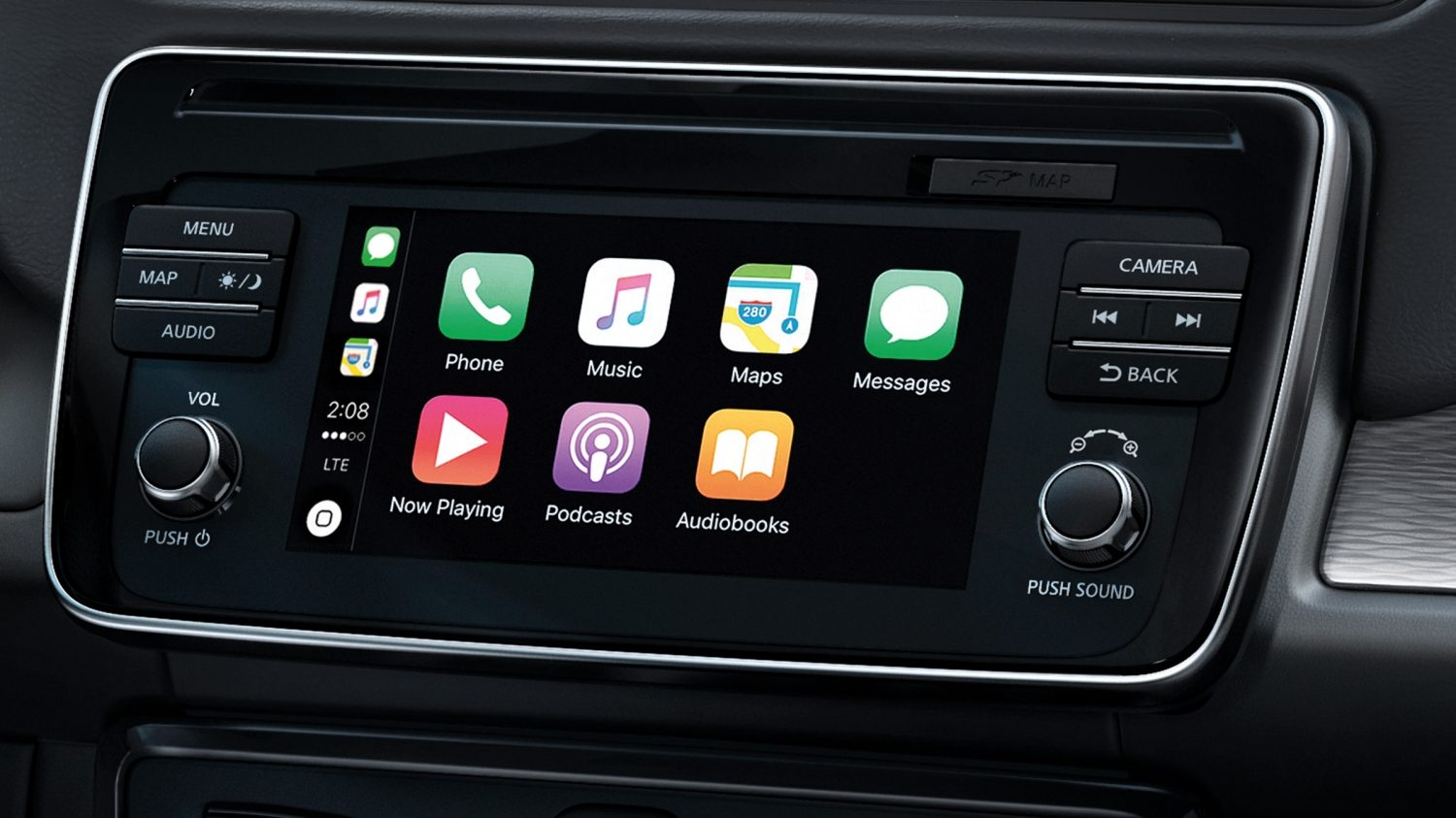 Ny Nissan LEAF navigationsskærm, der viser Apple CarPlay
