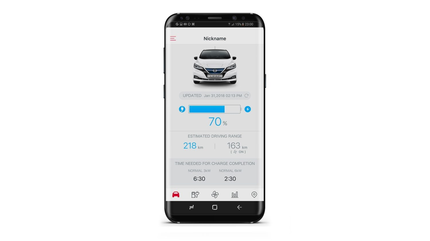 Application NissanConnect EV de la Nouvelle Nissan LEAF