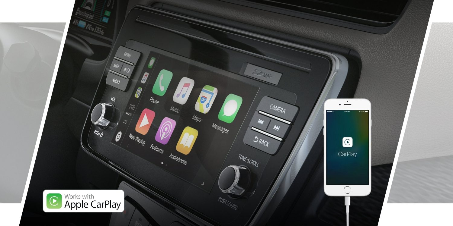 Nissan LEAF navigationsskærm, der viser Apple CarPlay