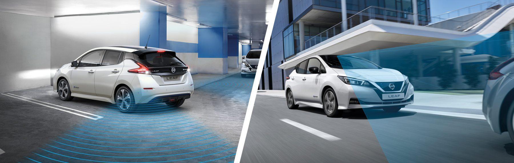 Nieuwe Nissan LEAF rijdt een parkeerplaats uit en nieuwe Nissan LEAF rijdt in de stad