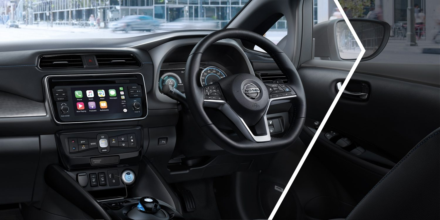 New Nissan LEAF interior showing redesigned dash
