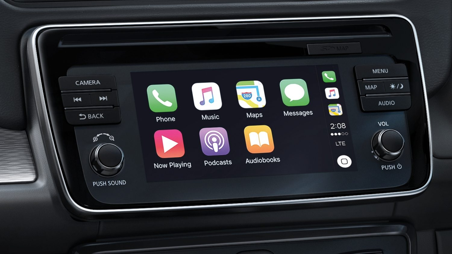 New Nissan LEAF navigation screen showing apple carplay