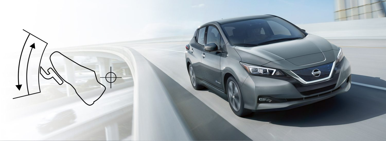 Nissan LEAF driving on a highway with graphic of e-Pedal next to it
