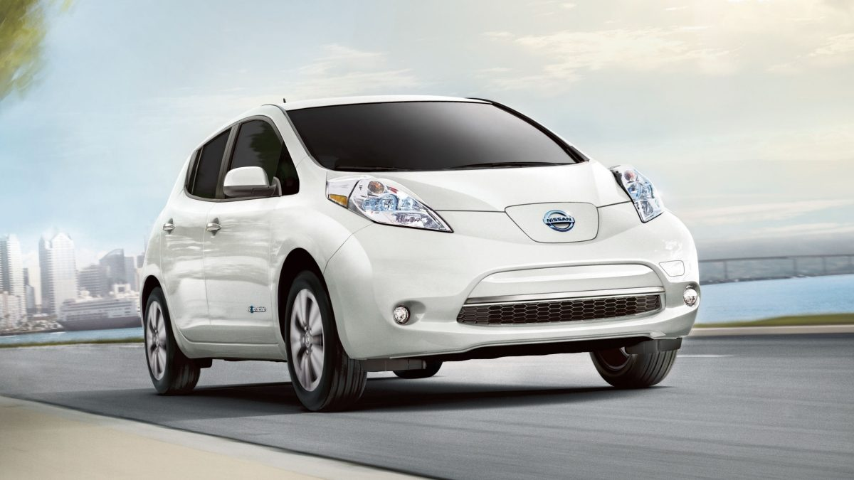 Nissan leaf electric car on the road