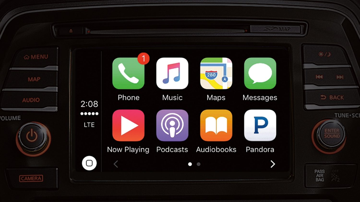 Pantalla de Apple CarPlay en el Nissan Maxima