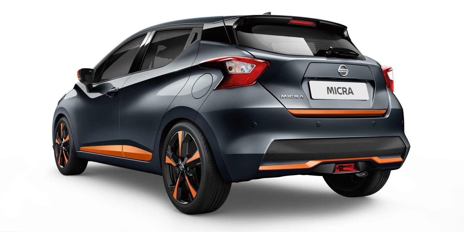 New Nissan Micra 3/4 Rear Dark Grey and Orange