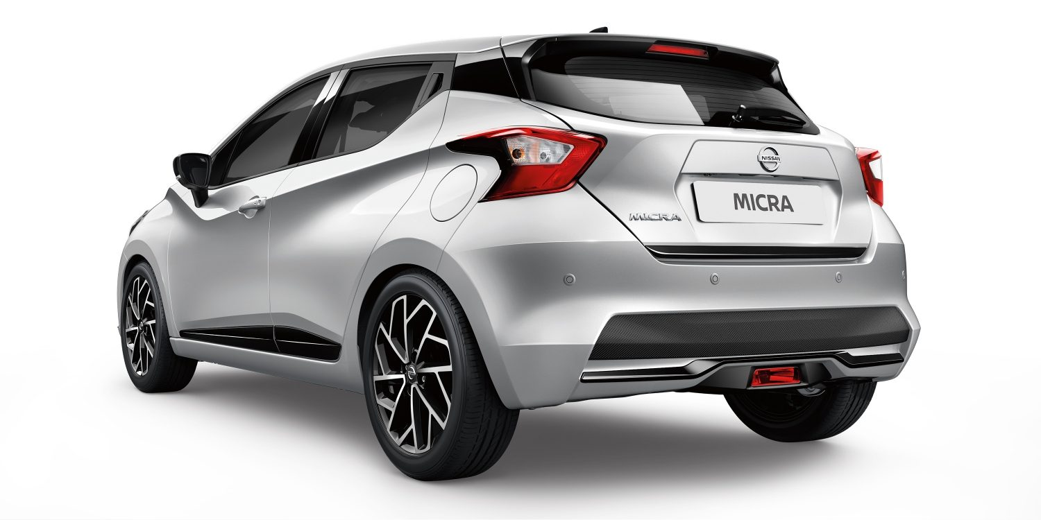 new nissan micra rear silver and black