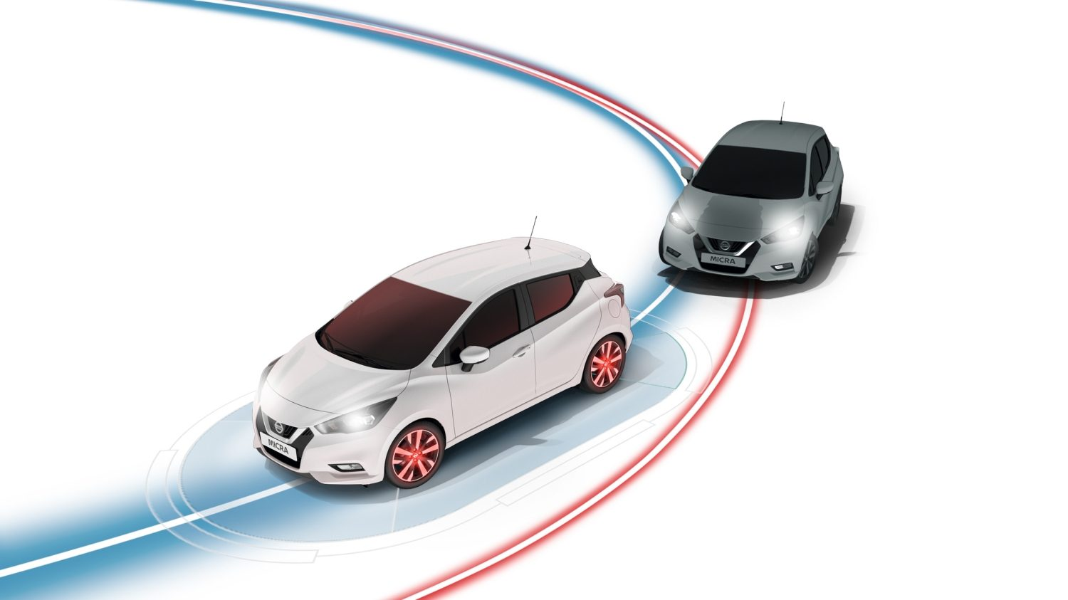 Nissan MICRA Intelligent spårkontroll Illustration