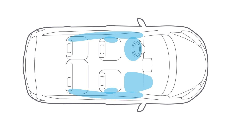 Nissan Versa Note six standard airbags overhead illustration