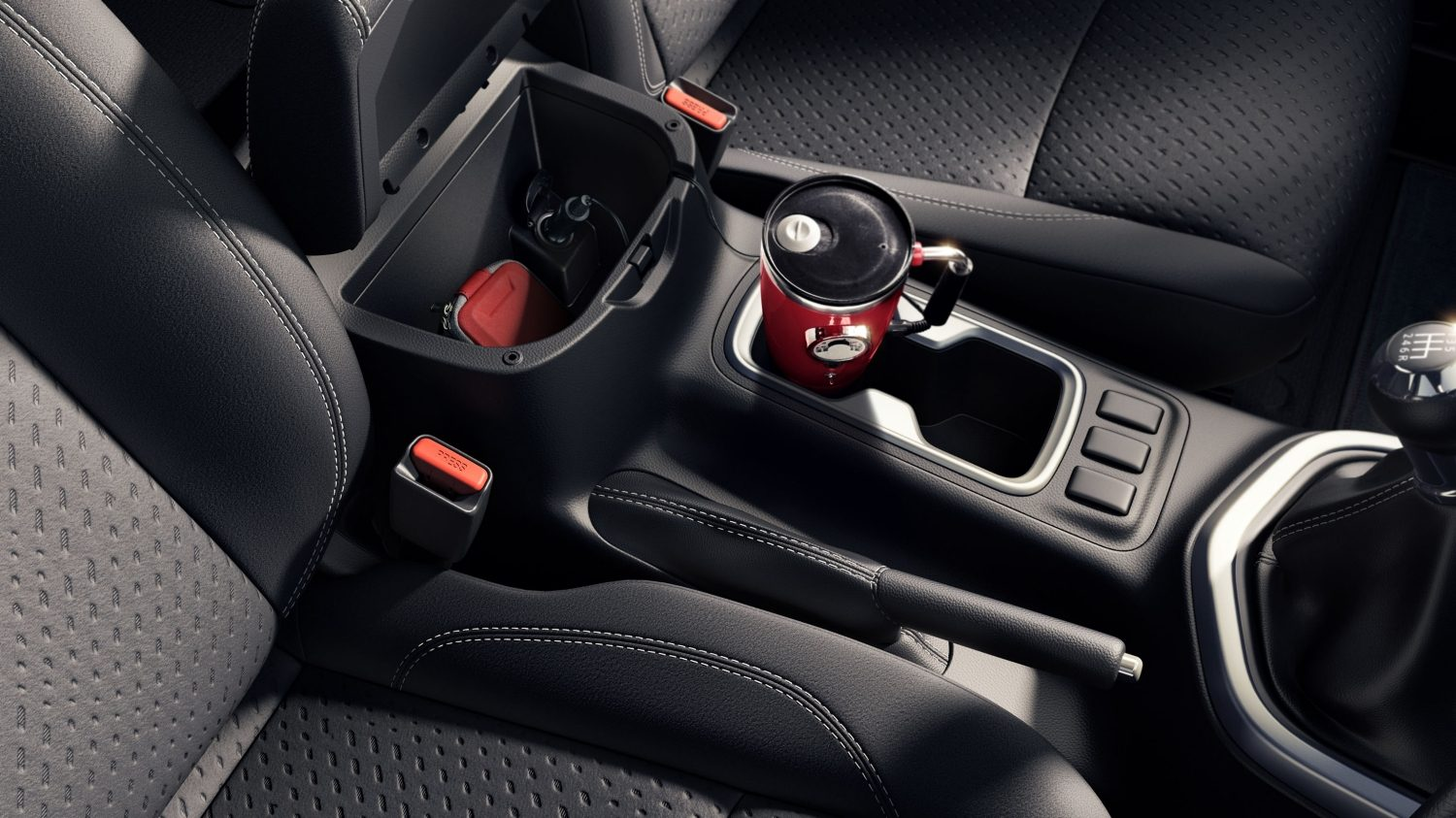 Nissan Navara centre console with mug in cupholder
