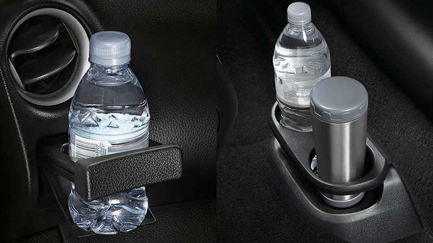 Nissan Navara cup holders holding water bottles
