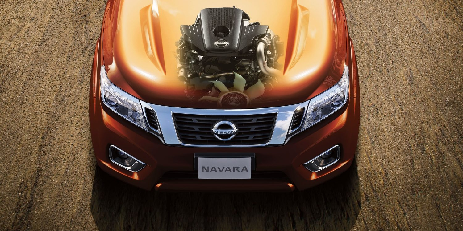 Nissan Navara engine illustrated on bonnet