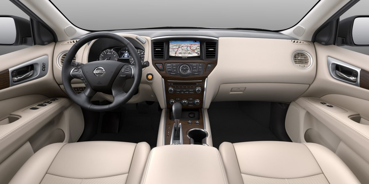 Nissan Pathfinder interior showing front seats and dash